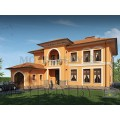 Готовый проект шикарного двухэтажного дома с сауной, гаражом и большой террасой