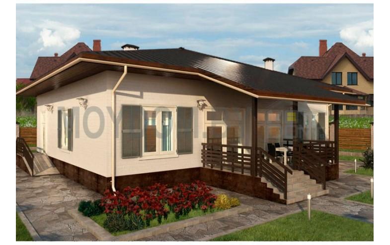 Готовый проект одноэтажного дома с сауной площадью до 100 кв.м
