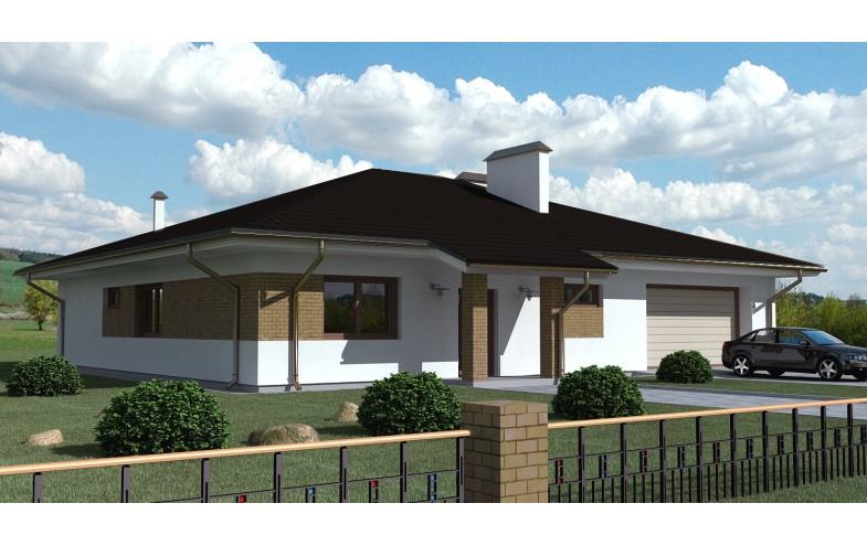 Готовый проект одноэтажного дома из блоков с гаражом на 2 автомобиля