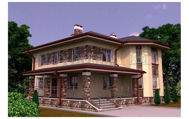 Готовый проект двухэтажного дома из блоков с уютной гостиной и большой террасой