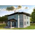 Готовый проект двухэтажного дома с камином, террасой и большой гостиной