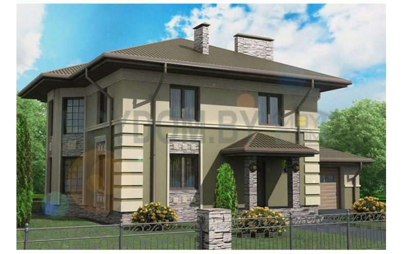 Готовый проект классического двухэтажного блочного дома с пристроенным гаражом
