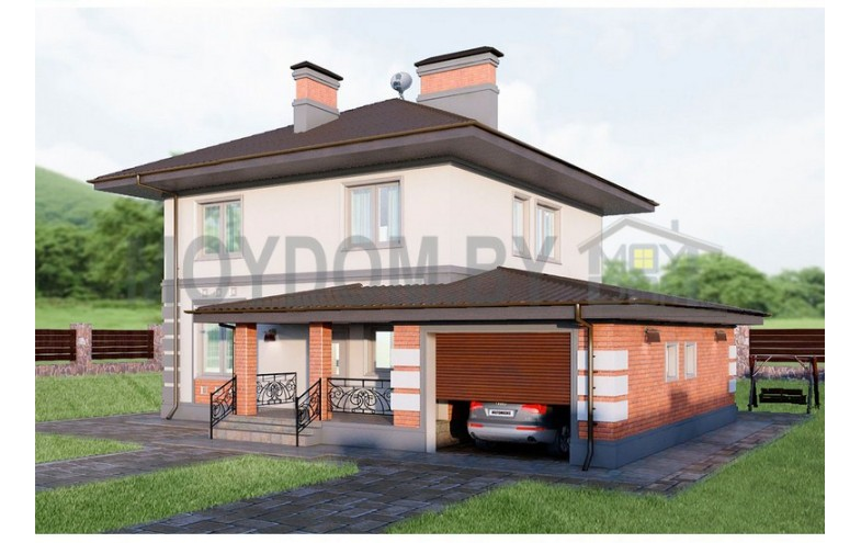 Готовый проект двухэтажного блочного дома с просторной кухней-гостиной и террасой