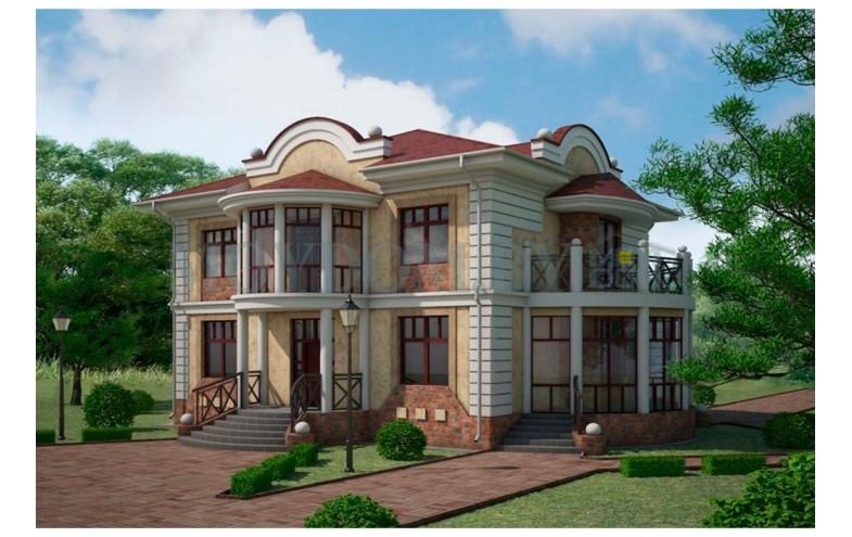 Готовый проект двухэтажного блочного дома площадью с открытыми и закрытыми балконами