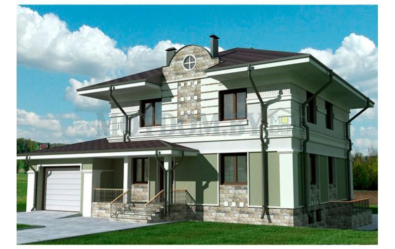 Готовый проект двухэтажного дома с  сауной и гаражом на 1 машину