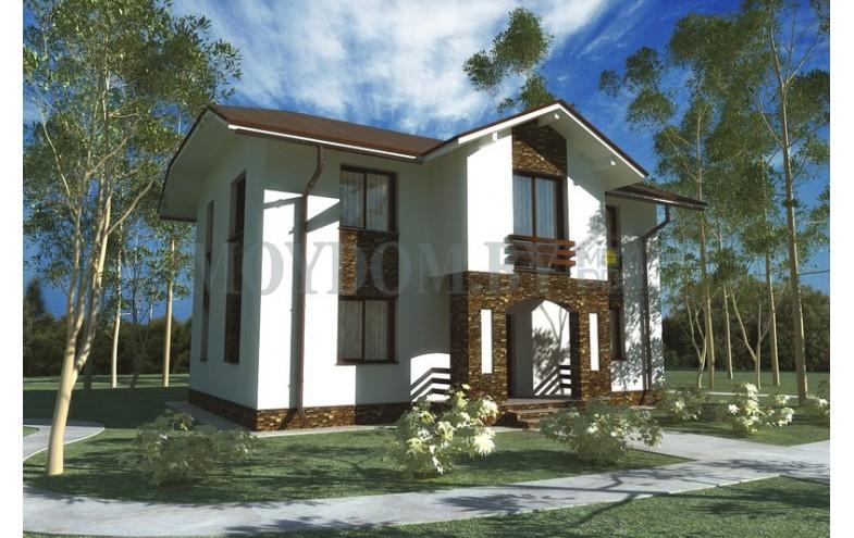 Готовый проект двухэтажного дома с большими комнатами и гардеробом
