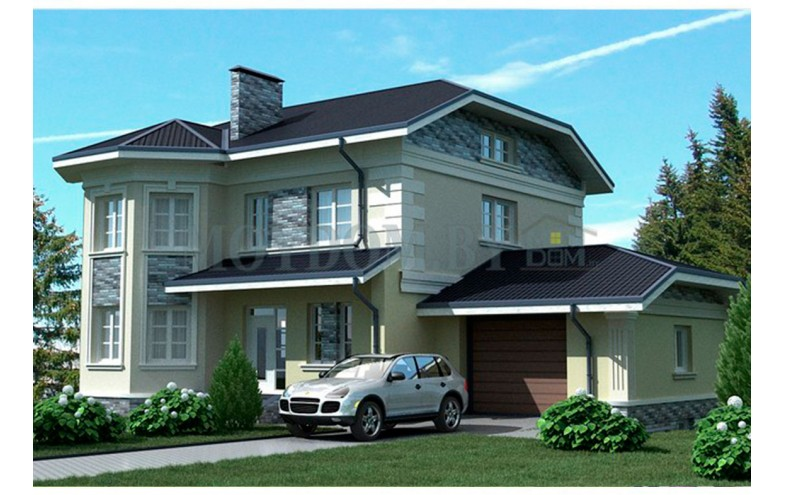 Готовый проект двухэтажного блочного дома с цокольным этажом