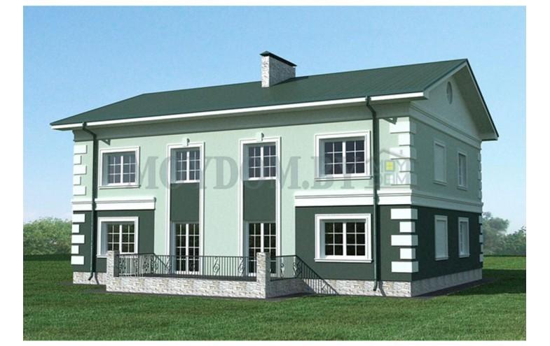 Готовый проект двухэтажного блочного двухквартирного дома