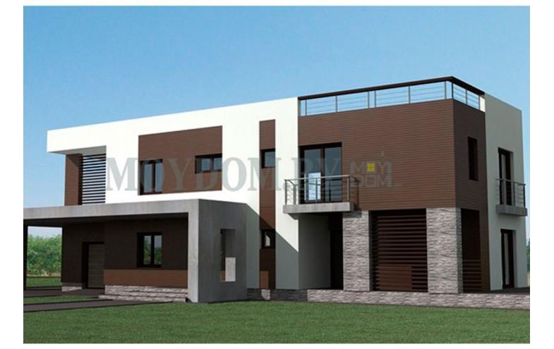 Готовый проект двухэтажного блочного дома с гаражом и насесом для машины от 200 кв.м