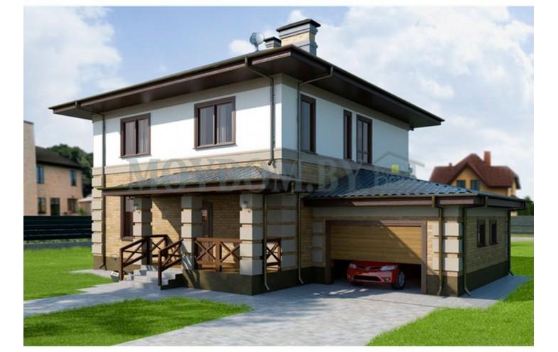 Готовый проект двухэтажного блочного дома площадью до 200 кв.м с  гаражом для машины