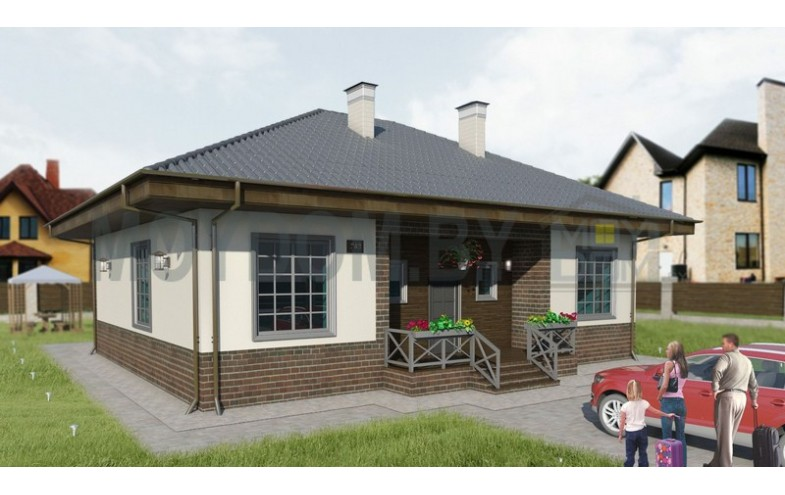 Готовый проект одноэтажного блочного дома с 3-мя спальнями до 150 кв.м