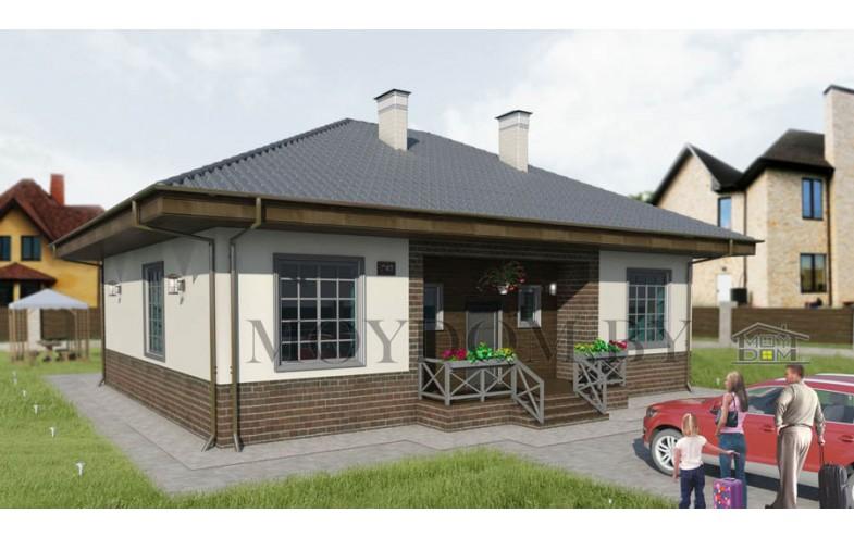 Готовый проект одноэтажного дома с террасой и 4-мя спальнями