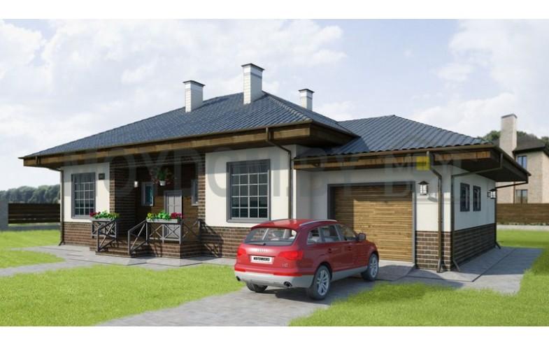 Готовый проект современного одноэтажного дома с гаражом на 1 машину и большой гостиной с камином