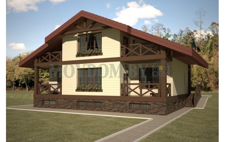 Готовый проект деревянного мансардного дома  с подвалом