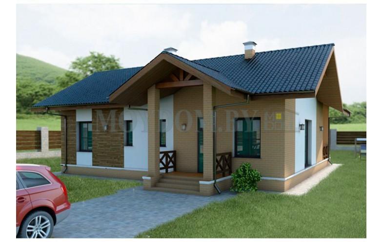 Готовый проект компактного одноэтажного блочного дома до 100 кв.м с большой кухней