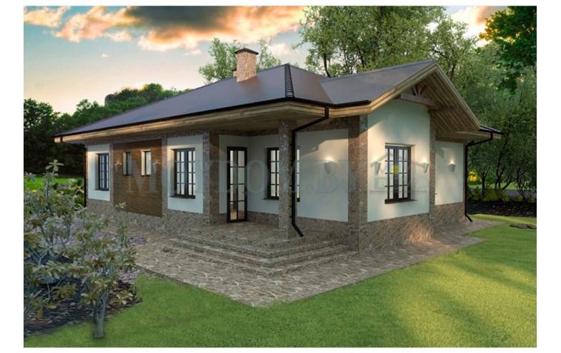 Готовый проект одноэтажного блочного дома с 3-мя спальмями, большой гостиной с камином до 150 кв.м