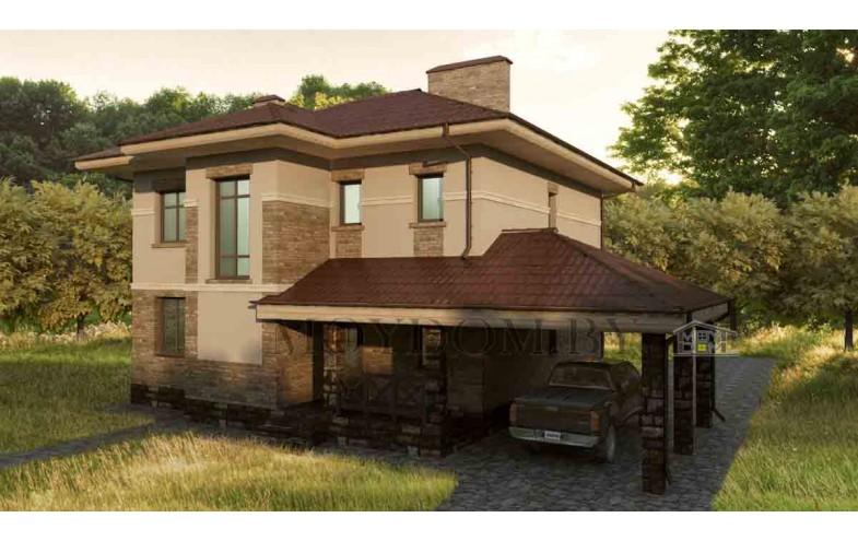 Готовый проект блочного двухэтажного дома с навесом для автомобилей