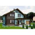 Готовый проект мансардного дома из блоков с гаражом и террасой