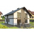 Готовый проект  мансардного дома с большой гостиной, камином и террасой