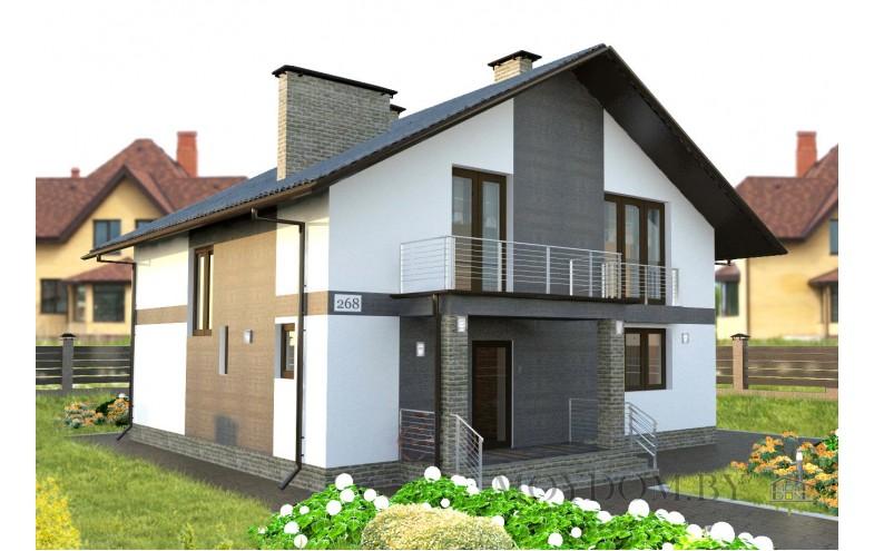 проект современного дома с мансардой 170 м.кв