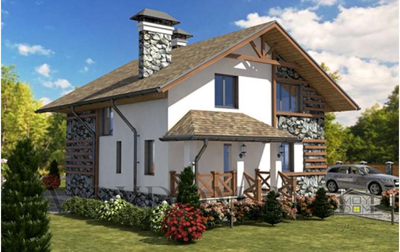 Готовый проект мансардного дома из блоков с высокими потолками до 200 кв.м