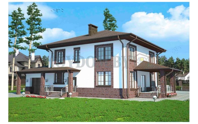 Готовый проект шикарного двухэтажного дома с просторными комнатами от 250 кв.м