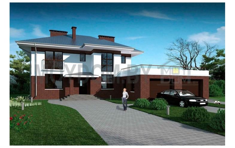Готовый проект двухэтажного дома с большими окнами,  гаражом на 2 машины