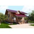 Готовый проект  деревянного мансардного дома с большой гостиной