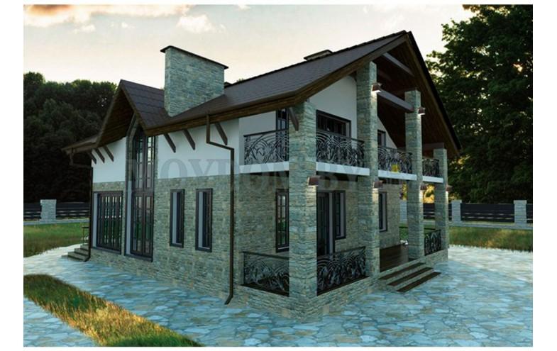 Проект двухэтажного дома с камином, террасой и балконами