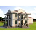 Готовый проект двухэтажного дома с бассейном, сауной и террасой