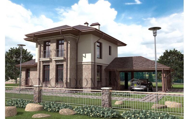 Готовый проект блочного двухэтажного дома площадью до 200 кв.м с навесом на 2 машины