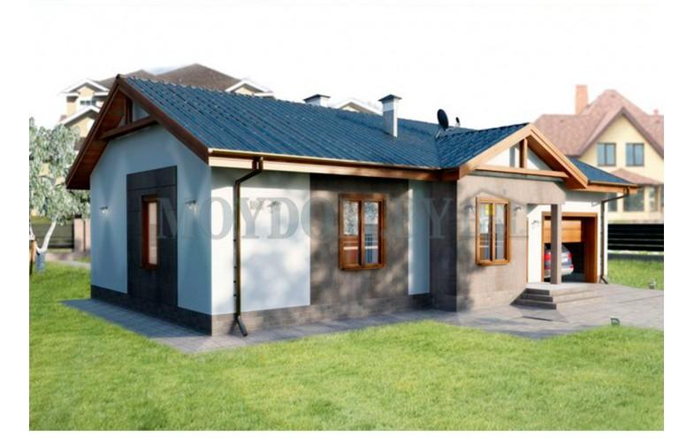Готовый компактный проект блочного одноэтажного дома с гаражом и хозяйственным помещением