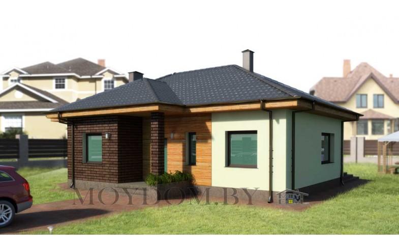 Готовый компактный проект блочного одноэтажного дома с террасой