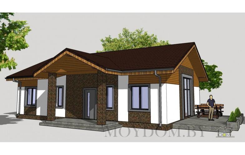 Проект стильного одноэтажного дома с двухскатной кровлей