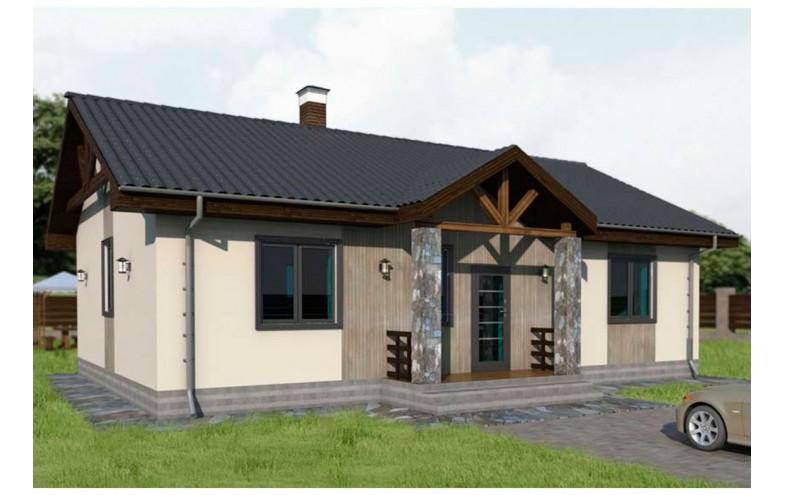Готовый проект блочного одноэтажного дома с террасой 30 кв.м, большой кухней