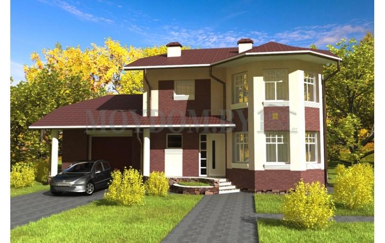Готовый проект двухэтажного дома с гаражом, большой кухней и террасой
