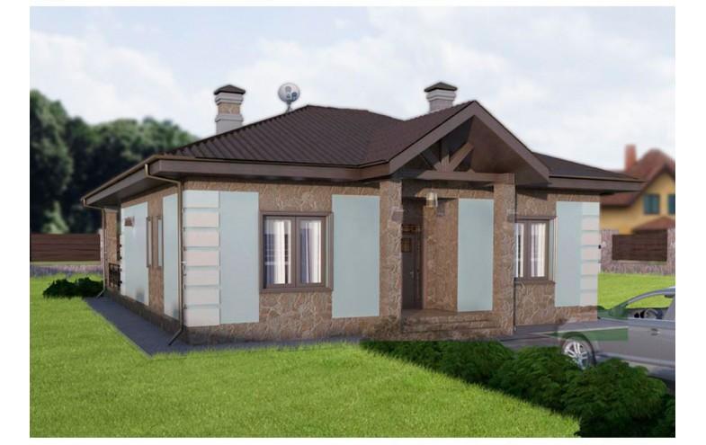 Готовый проект блочного одноэтажного дома с террасой 30 кв.м