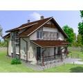 Готовый мансардного дома с террасой и балконом