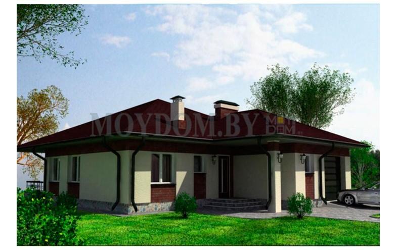 Готовый проект одноэтажного дома с  3 спальнями до 130 кв.м с террасой и гаражом