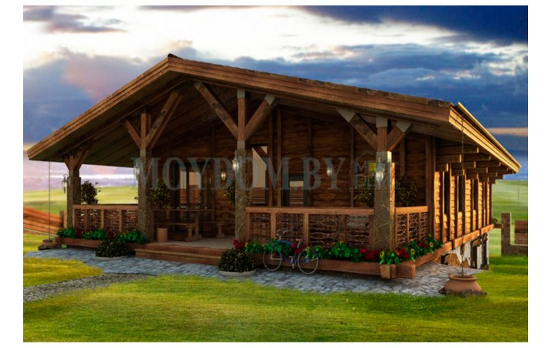 Готовый проект дома в стиле шале с большой террасой и балконом