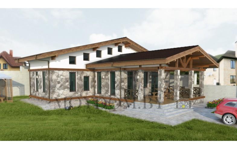 Готовый современный проект дома-бани со вторым светом
