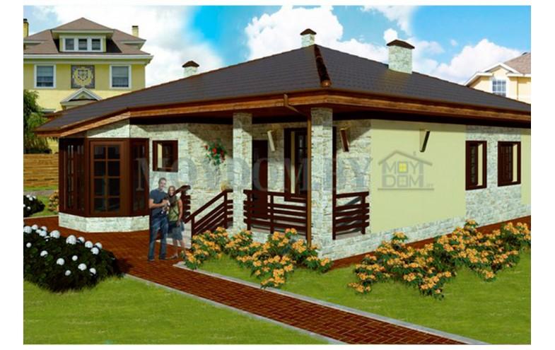Готовый проект одноэтажного дома с большой кухней и гостиной