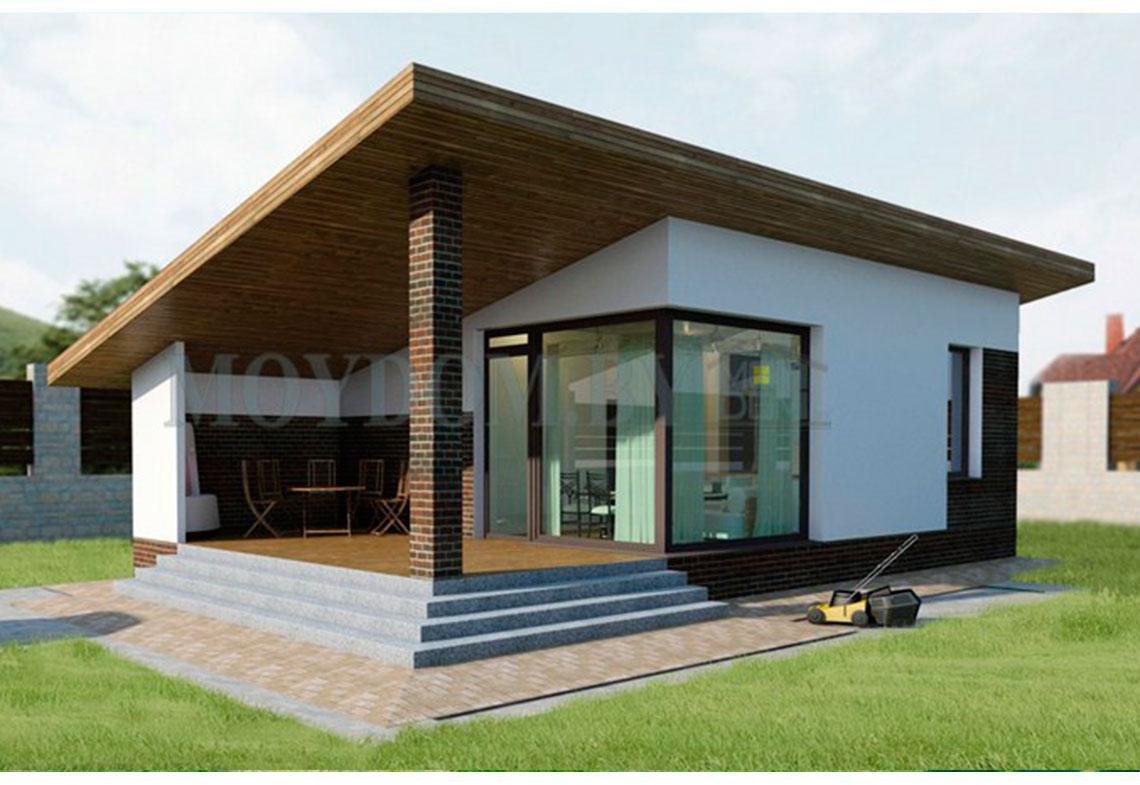 двухэтажная баня с плоской крышей