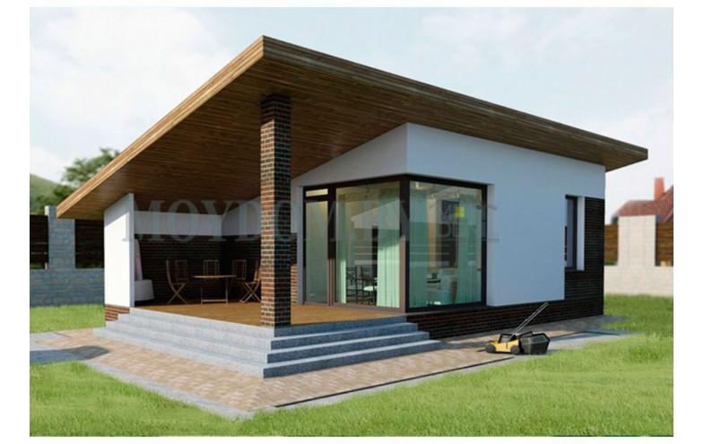 Готовый современный проект дома-бани с плоской односкатной крышей