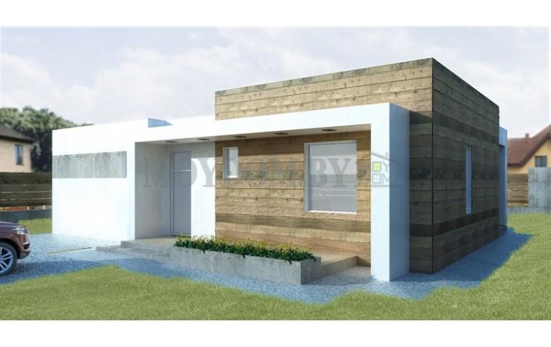 Проект одноэтажного дома с плоской крышей и террасой