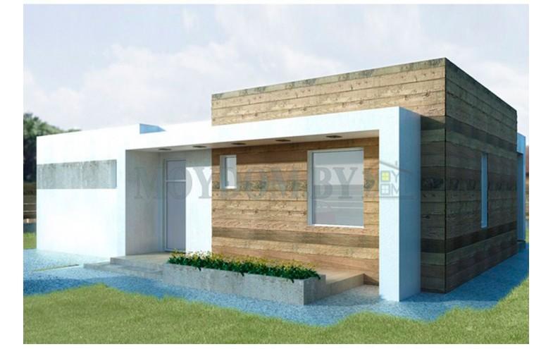 Готовый проект одноэтажного дома с плоской крышей и террасой