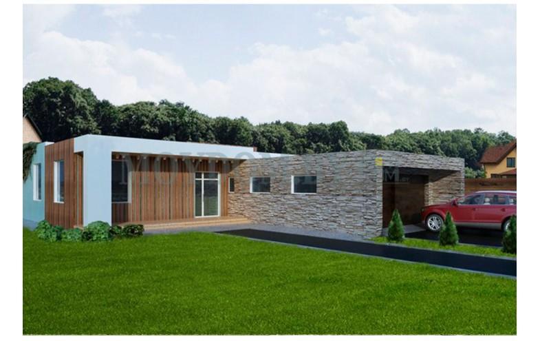 Готовый проект одноэтажного дома с террасой и гаражом на 2 машины