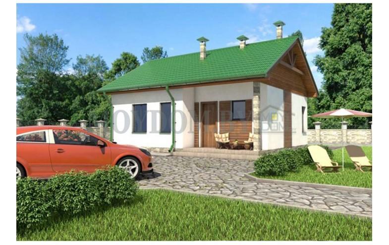 Проект одноэтажного дома из блоков с 2-мя спальнями до 70 кв.м