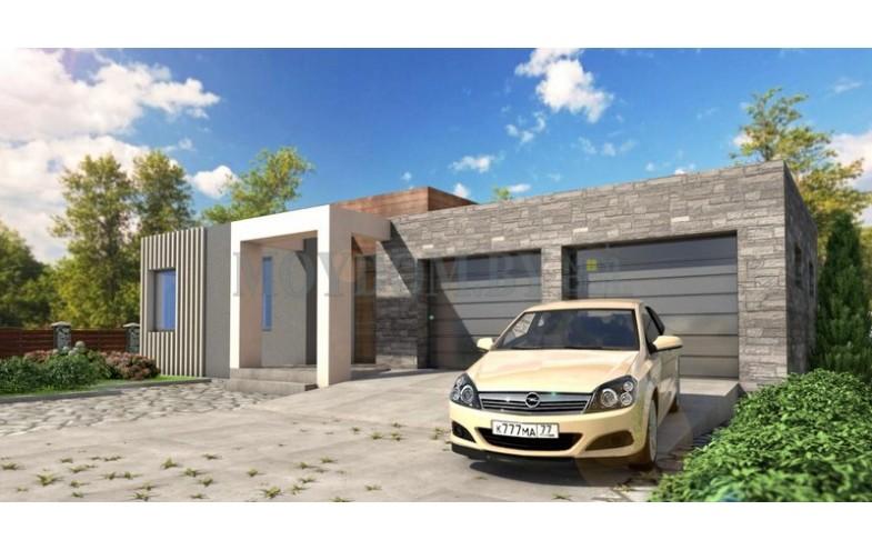 Проект одноэтажного дома из блоков с гаражом