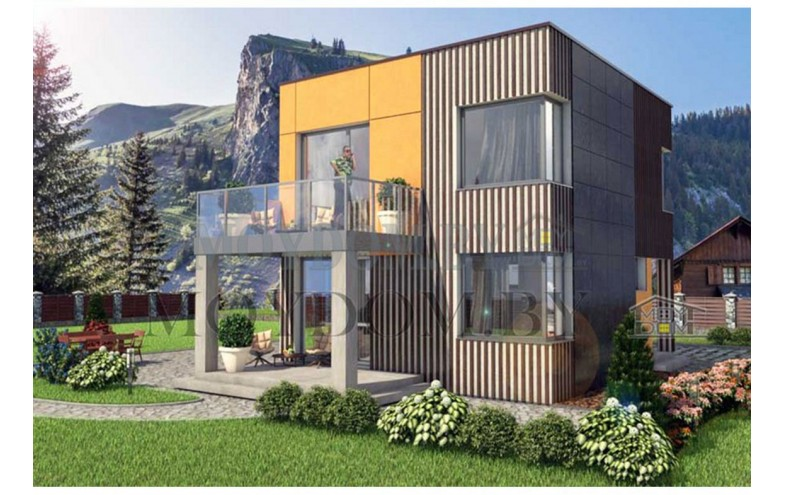Готовый проект двухэтажного дома с террасой и балконом